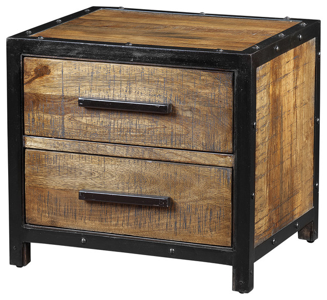 Delia night table made of mango wood with black metal for Metal night stands bedroom