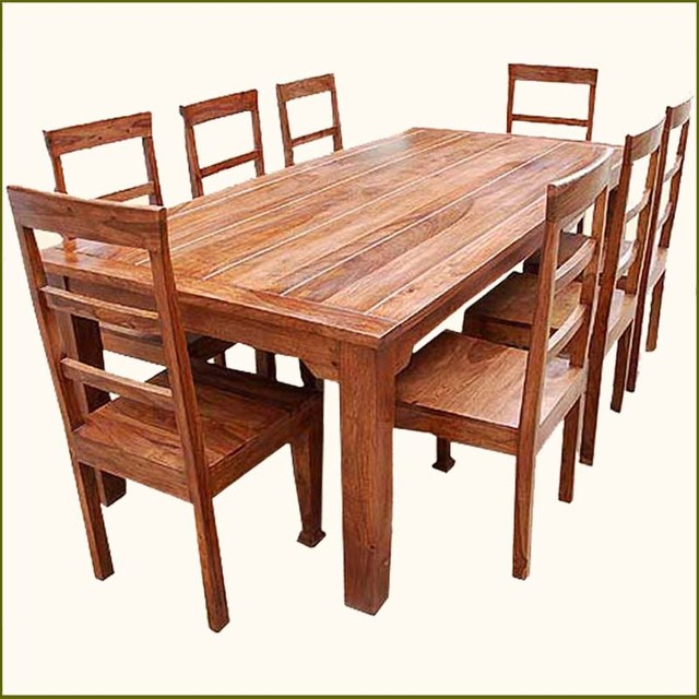 Rustic Dining Room Table Set: 9 Pc Solid Wood Rustic Contemporary Dinette Dining Room