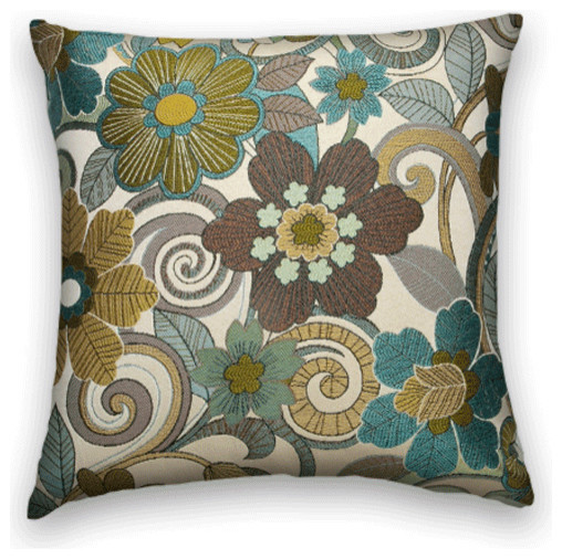 Blue Brown Green Throw Pillows : Blue Green Brown Floral Throw, 20x20 Pillow Cover - Traditional - Decorative Pillows - by Cody ...