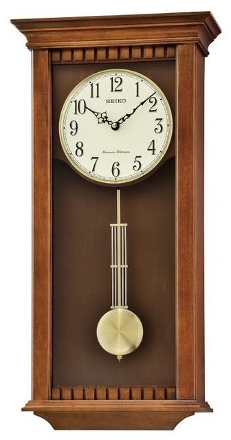 Seiko Wall Clock With Pendulum And Chime Qxh064blh Contemporary Wall Clocks By Hayneedle