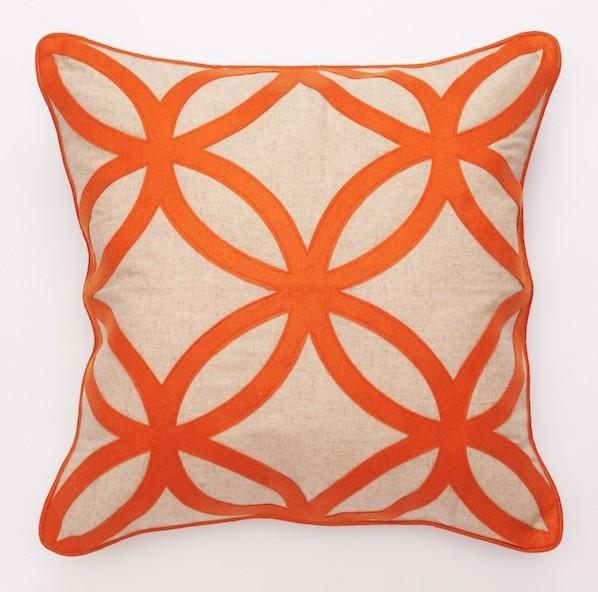 Geometric Felt Design Decorative Pillows - Orange - Modern - Decorative Pillows - by ...