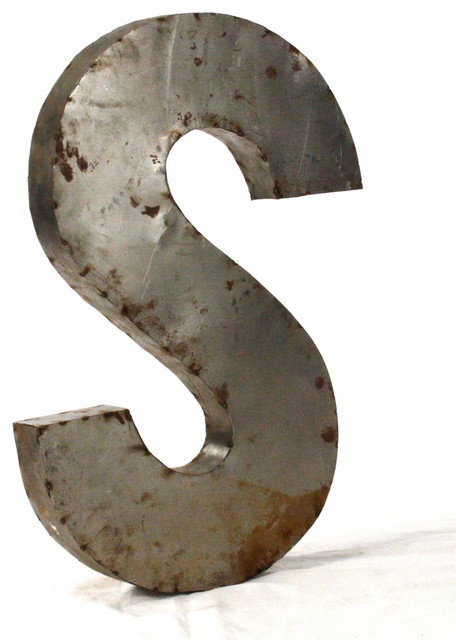 Industrial rustic metal small letter s 18quoth industrial for 18 inch metal letters