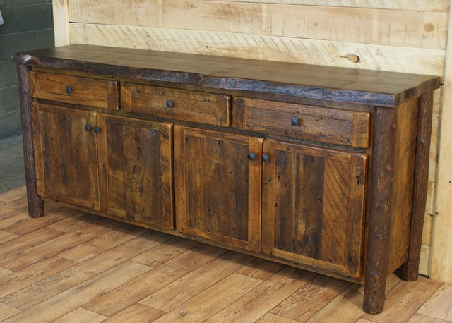 Reclaimed buffet live edge red pine top rustic