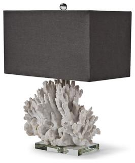 Monterey Coastal Beach Charcoal White Coral Table Lamp
