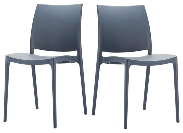 Lot de 2 chaises design maya couleur anthracite moderne for Chaise moderne couleur