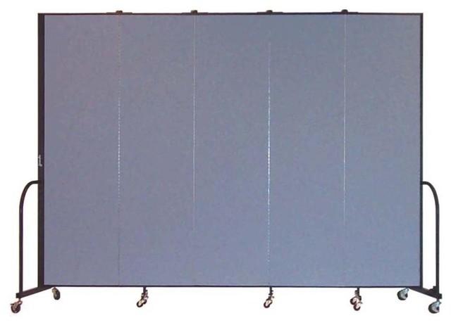 Freestanding 88 in Portable Room Divider w 5 Panels Lake