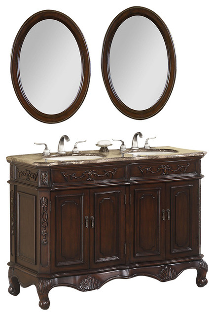 50 inch double bath vanity set with marble top 3 piece - 50 inch double sink bathroom vanity ...