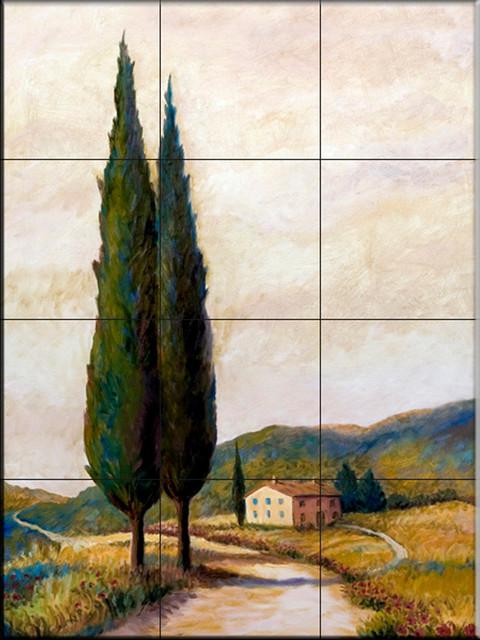 Tile mural afternoon in tuscany ii kitchen backsplash for Cypress gardens mural