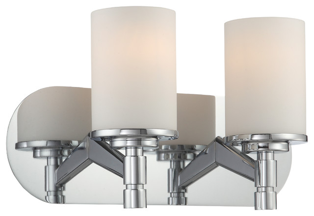 2-Lite Vanity, Chrome and Frost Glass Shade - Contemporary - Bathroom Vanity Lighting - by Lite ...