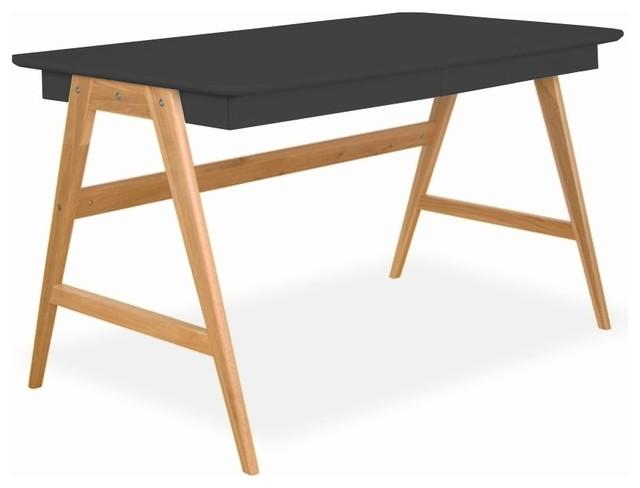 Bureau scandinave laque et bois skoll couleur gris for Bureau secretaire meuble