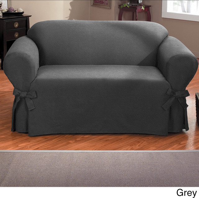 Bruce One Piece Relaxed Fit Sofa Slipcover With Ties