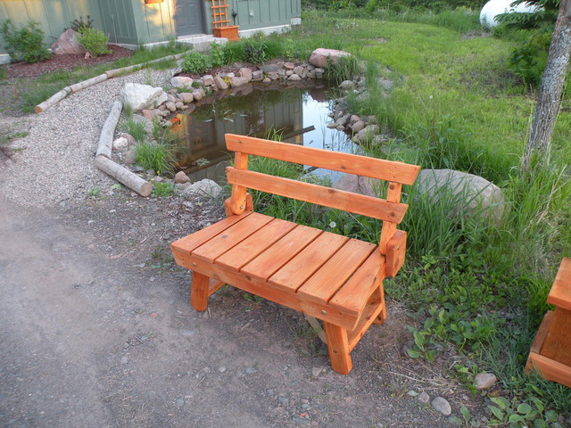Folding Red Cedar Garden Bench Outdoor Benches By Craft Wright Woodworking