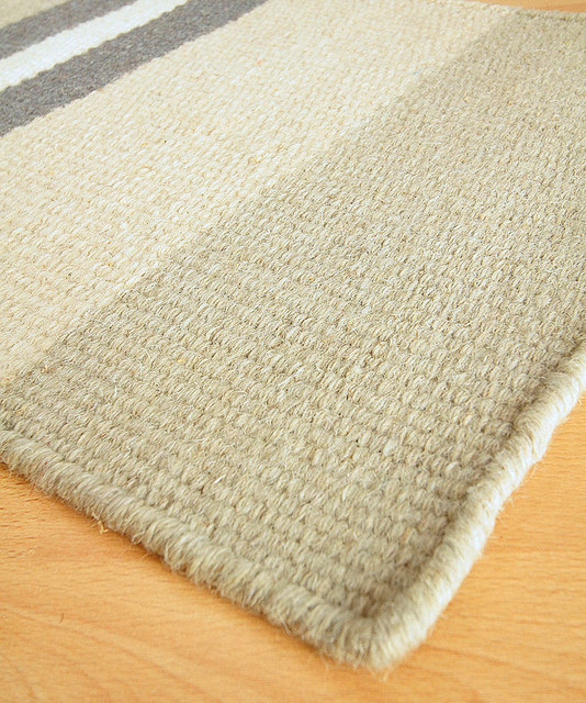 Lighthouse grey wool berber stripe rug 9 39 x 12 for Wool berber area rug