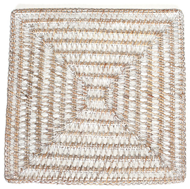 square white rattan placemats 14 set 4 beach style placemats by hudson vine. Black Bedroom Furniture Sets. Home Design Ideas