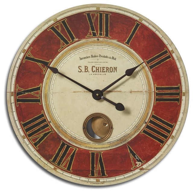 Old World Tuscan 23 Pendulum Clock Wall Clock Modern Wall Clocks By Premier Home Decor