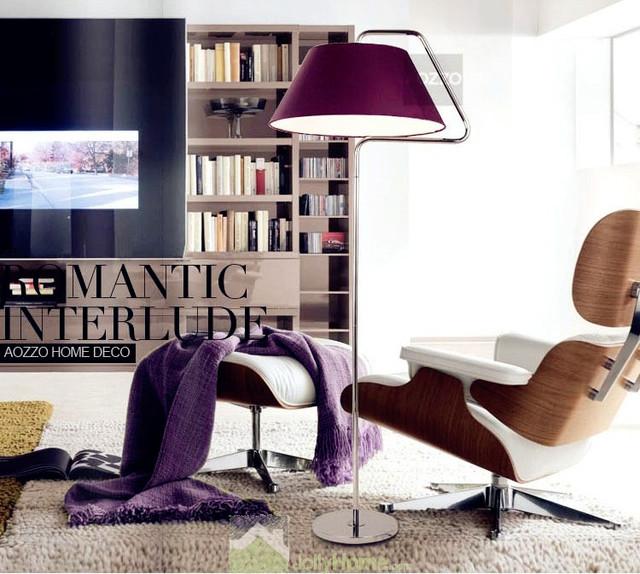 Distinctive Purple Shade Floor Lights Chrome Modern