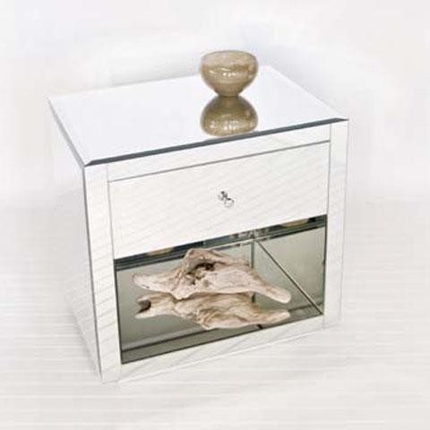 Worlds away farrah nightstand in mirror traditional for Wall shelf nightstand