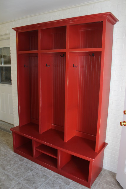 Barn Red Mudroom Cubby Contemporary Furniture Dallas By Claywood Studios