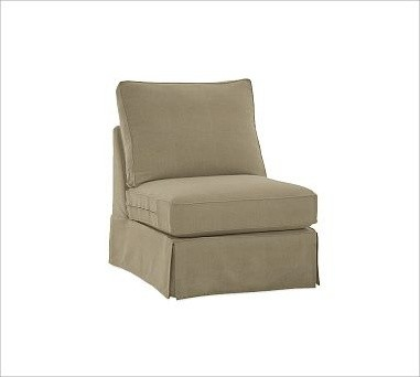 PB Comfort Armless Chair Slipcovers Washed Linen Cotton