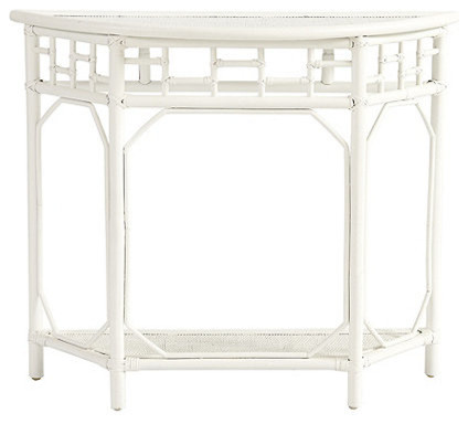 Bonair demilune white asian console tables by ballard designs - White demilune console table ...