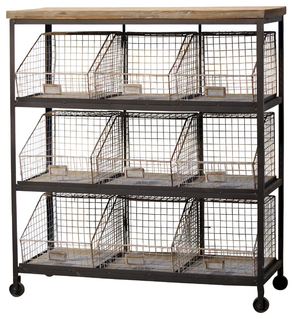 9-Bin Metal Storage Rack With Casters - Industrial - Storage Cabinets - by VIP International