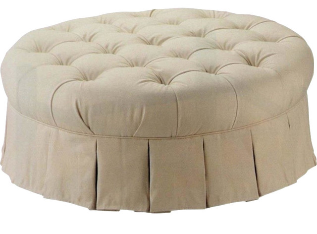 """Traditional Styled 42"""" Round Tufted Ottoman Upholstered In"""