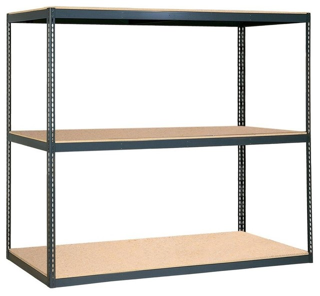 Free Standing Cabinets Racks & Shelves: Edsal Garage Shelving 96 in. W x 84 contemporary-garage ...