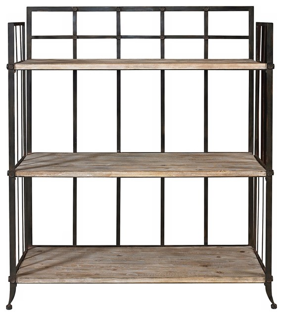 Rustic 3-Shelf Driftwood and Iron Display Unit - Industrial - Storage ...