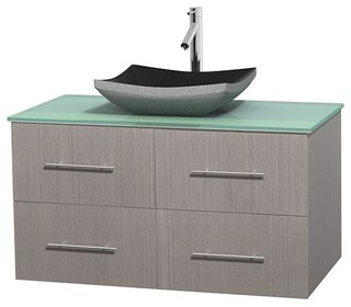 42 In Single Bathroom Vanity In Gray Oak Green Glass Countertop Altair Bla