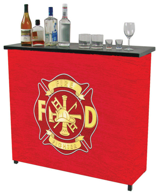 Fire Fighter Metal 2 Shelf Portable Bar With Carrying Case - Contemporary - Wine And Bar ...
