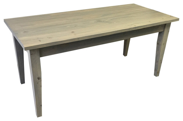 Grey Farmhouse Table With Tapered Legs 66 Inches