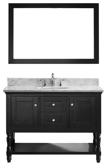 Julianna 48 Single Bathroom Vanity Cabinet Set Espresso Single Round
