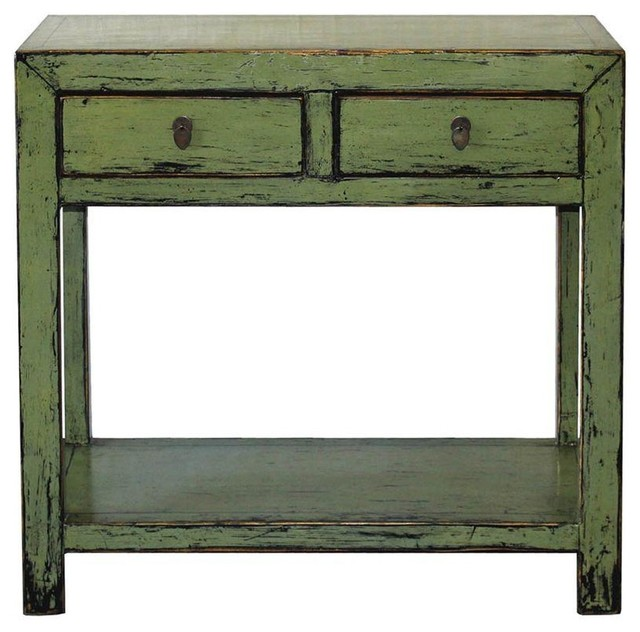 Green 2 drawer console table modern console tables - Contemporary console tables with drawers ...