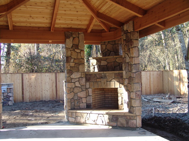 Outdoor Fireplace with BBQ Grill and Pizza Oven - Traditional ...