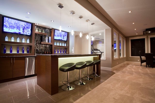 Rimrock house modern home bar edmonton by for Home bar installation