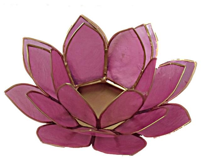 Capiz shell lotus tea light candle holder light pink traditional candleholders by the - Capiz shell tealight holder ...