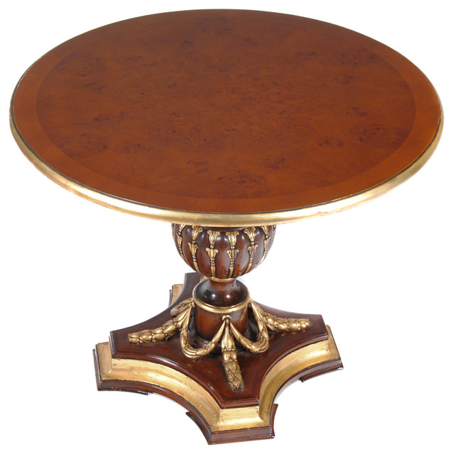 Burled Center Table Round Mahogany Table Traditional Coffee Tables By Niagara Furniture