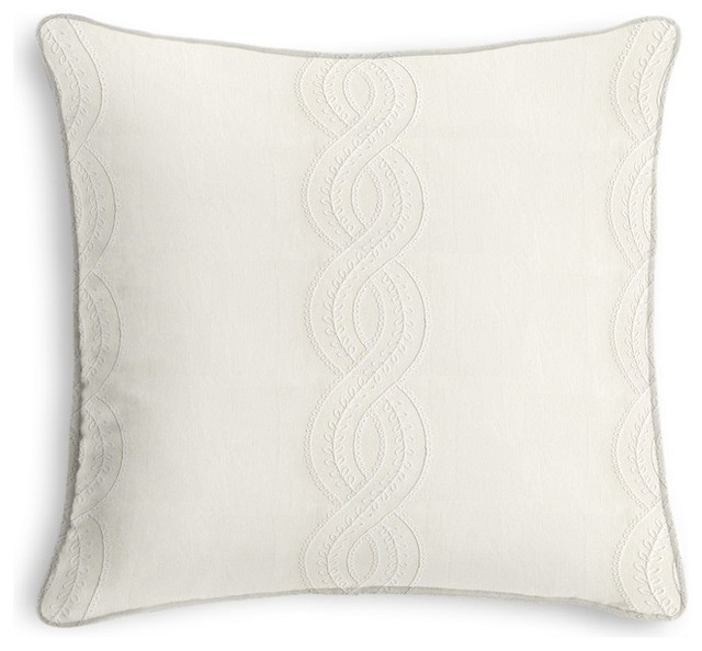 Embroidery Cream Decorative Pillows : Embroidered Cream Chain Throw Pillow - Transitional - Decorative Pillows - by Loom Decor