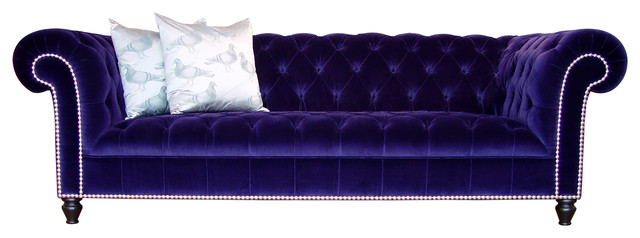 Dark blue velvet chesterfield sofa modern and contemporary for Button tufted chaise settee velvet