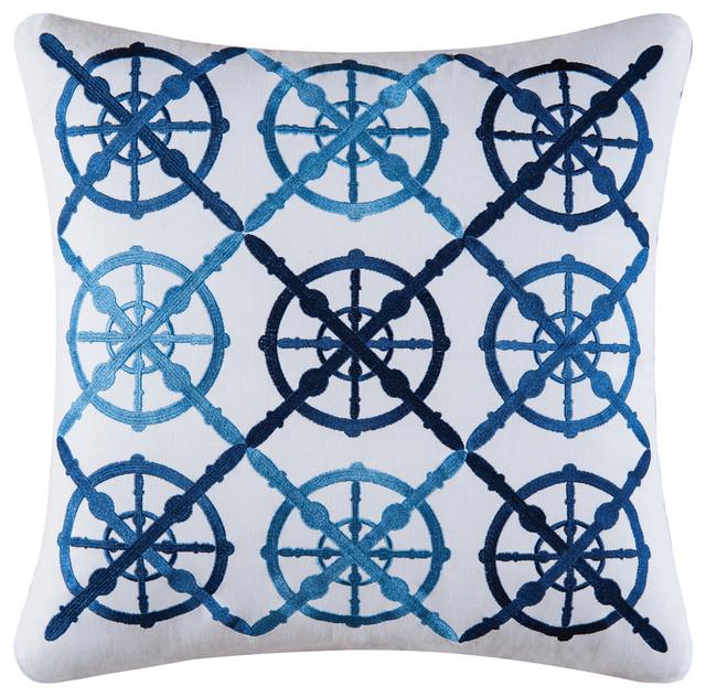 Captain S Wheel Embroidery Pillow Beach Style