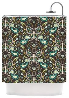 Suzie Tremel Butterfly Garden Brown Teal Shower Curtain