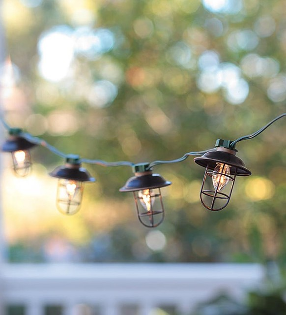 Modern String Lights Indoor : Indoor/Outdoor Electric Metal Lantern String Lights - Contemporary - Holiday Lighting - by Plow ...