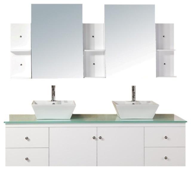 Portland 72 Double Sink Wall Mount Vanity Set White Bathroom Vanities And Sink Consoles