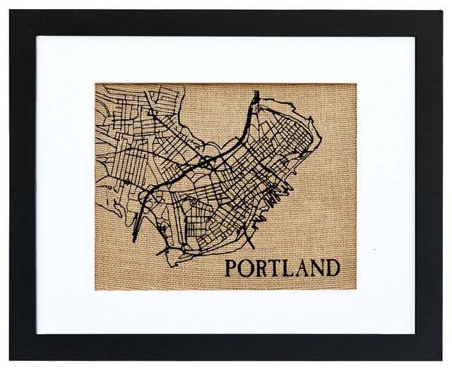 Portland Maine Map Burlap Wall Art In Campagna Stampe