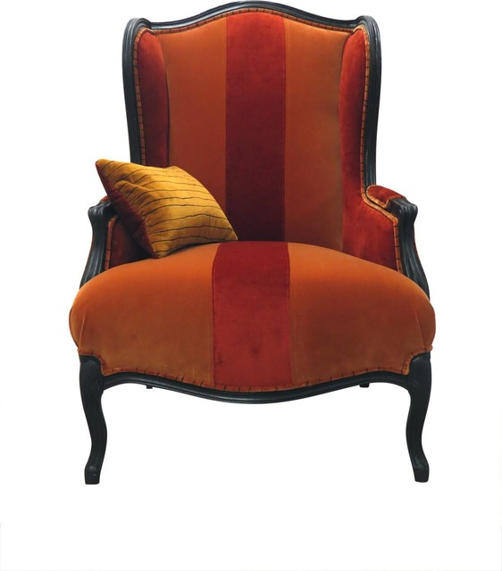 Alice Velvet Wingback Chair Red And Orange Traditional