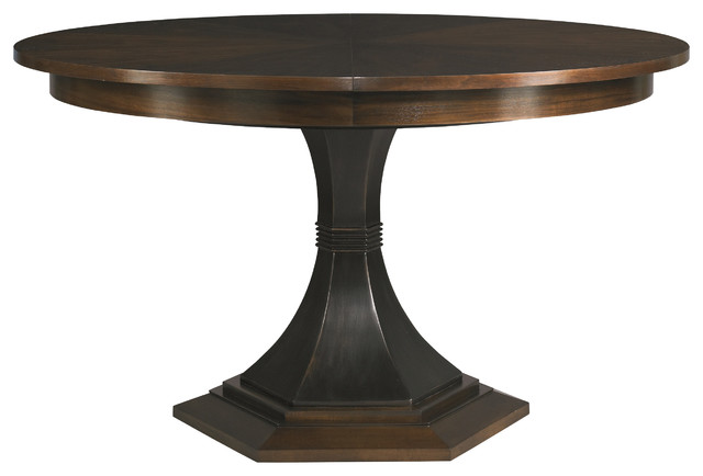 hickory white paxton single pedestal table 240 10 contemporary dining tables by benjamin. Black Bedroom Furniture Sets. Home Design Ideas