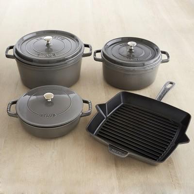 Staub Cast-Iron 7-Piece Cookware Set, Graphite | Williams Sonoma ...  Staub