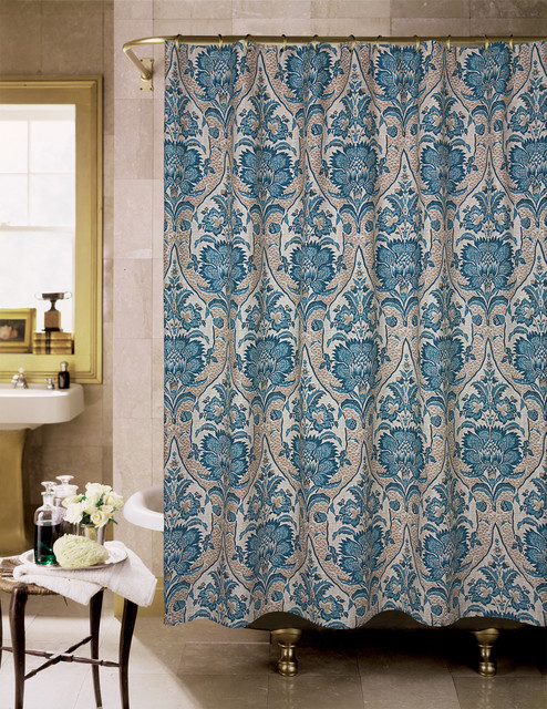 lyndhurst blue and tan floral shower curtain contemporary shower curtains by. Black Bedroom Furniture Sets. Home Design Ideas