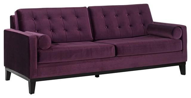 Contemporary Centennial Eggplant Velvet Sofa Modern