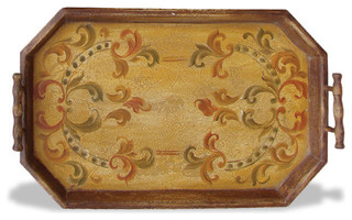Accessory Tray Hexagon, Rustic Brown - Traditional - Serving Trays ...